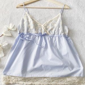 Land's End Lace Accented Babydoll Tank